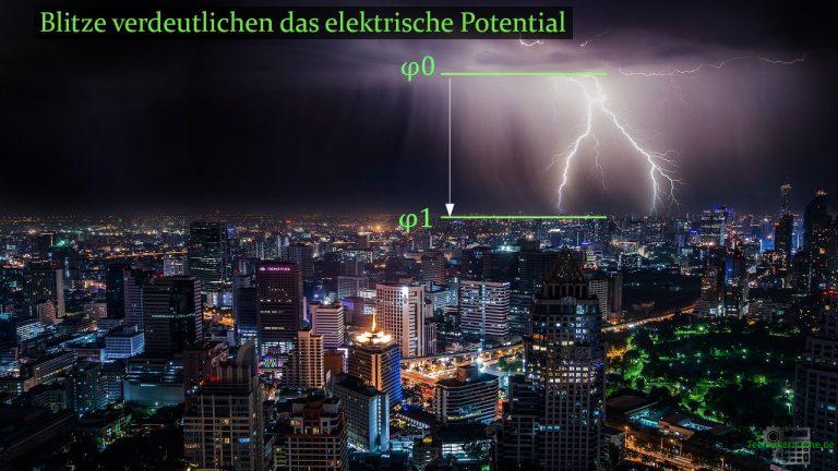 Elektrisches Potential eines Blitzes