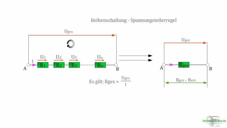 Spannungsteilerregel - Reihenschaltung