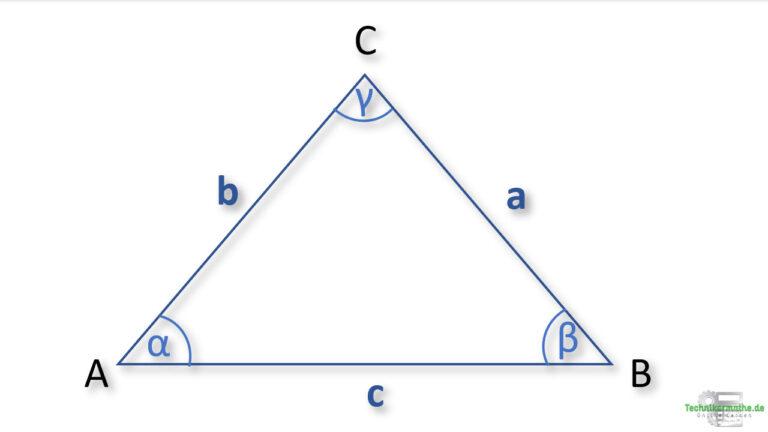 Allgemeines Dreieck zur Berechnung einer Seite - Kosinussatz