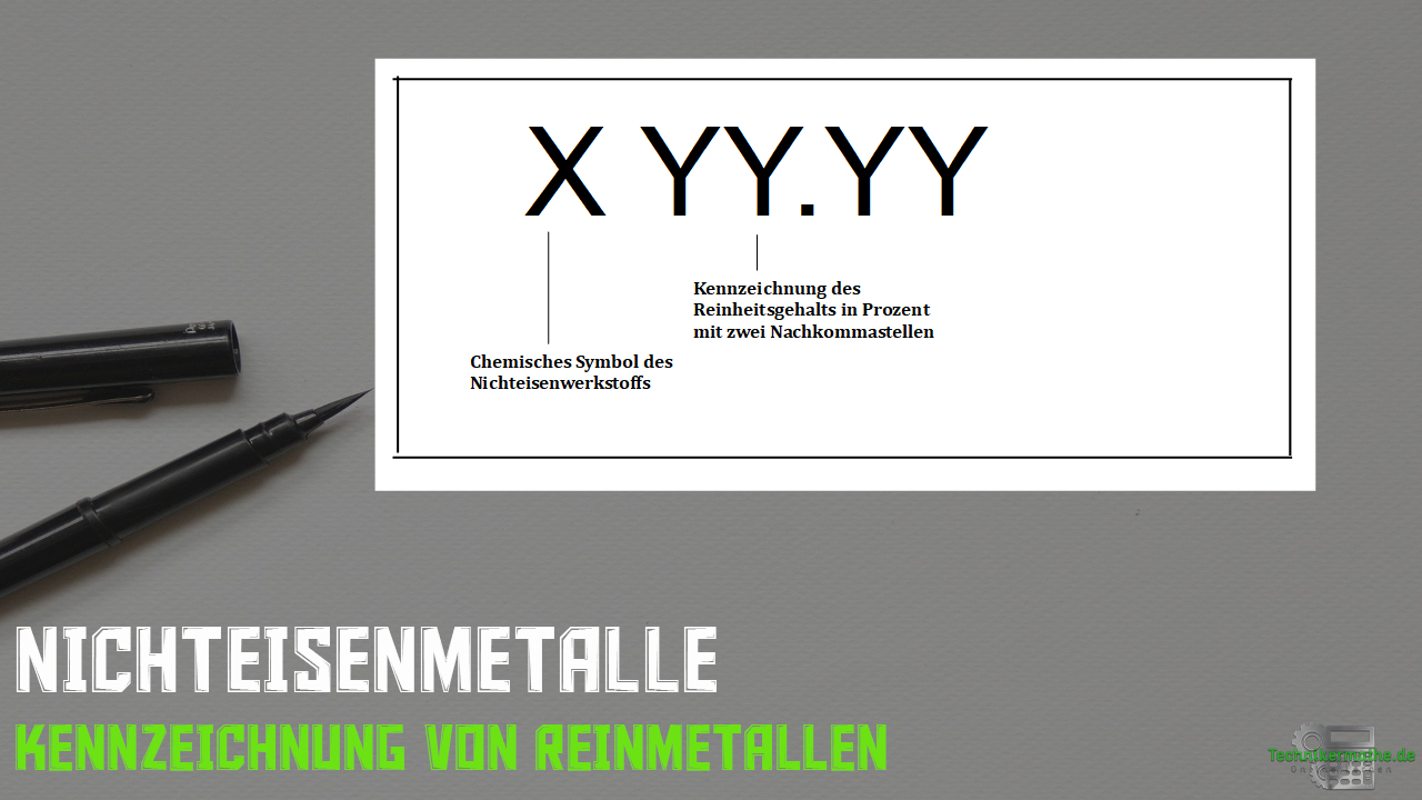 Nichteisenmetalle - Reinmetalle - Kennzeichnung